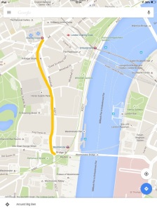 Big Ben/ The Elizabeth Tower to Charing Cross.